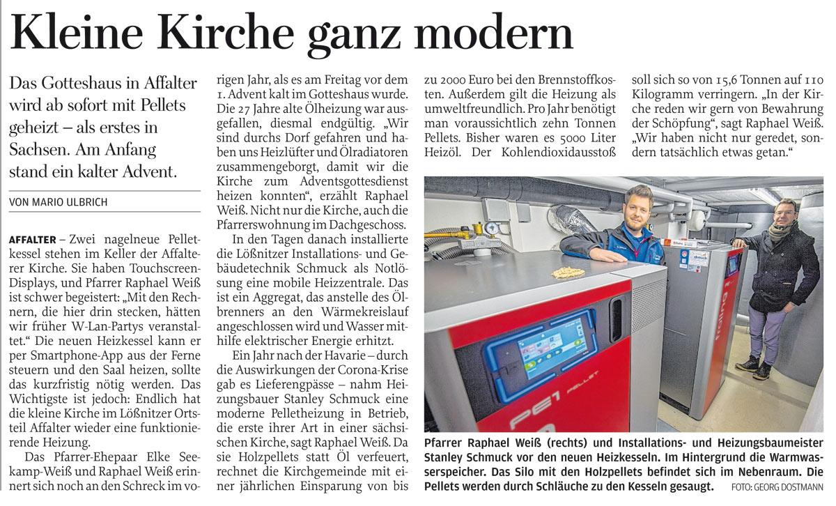 Zeitungsartikel von Maro Ulbrich - Kleine Kirche ganz modern