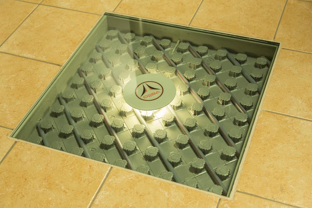 Fußbodenheizung in unserer Heizungsausstellung zur Ansicht offen gelegt